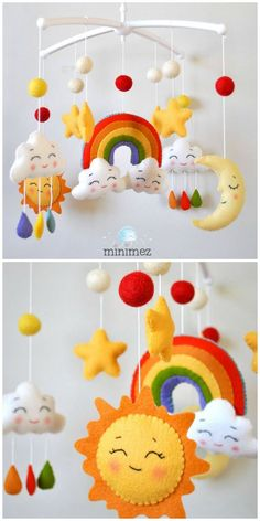 fürs baby mobile New Baby Crochet Mobile Ideas Ideas Diy Mobile, Felt Mobile, Mobile Kids, Mobiles En Crochet, Crochet Mobile, Baby Crafts, Felt Crafts, Summer Crafts For Kids, Felt Baby