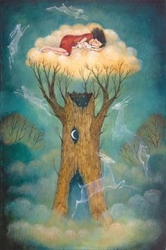 """Love the buttery gold butter colour of the 'nest' & the turquoise. Limited edition giclée print of original painting by Lucy Campbell - """"The Dreaming"""" Art And Illustration, Fantasy Kunst, Fantasy Art, Photo D Art, Whimsical Art, Illustrators, Giclee Print, Folk Art, Fairy Tales"""