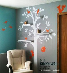 Wall Decal Vinyl Wall Sticker  Shelving Tree decal  door KinkyWall
