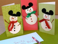Disney Christmas Crafts & Recipes | Disney | Disney Family.com -- Mickey Snowmen Cards