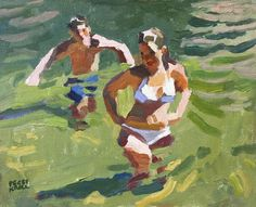 Kids at Candy Rock. #earlywork #oilpaintings #peggikrollroberts #figurepainting #coolwaters #wadingriver
