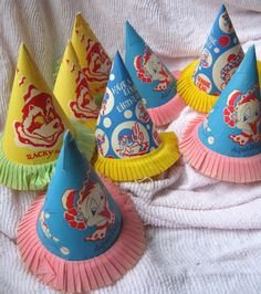 8 Vintage totally cute kids party hats.