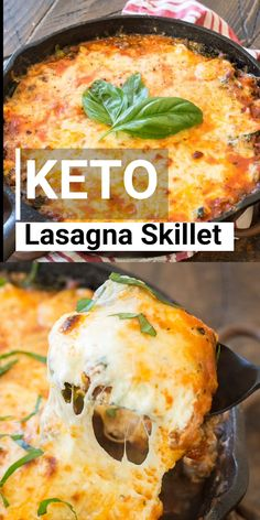 This Keto Lasagna Skillet has everything you love about lasagna with none of the work! Ready in 30 minutes and only 5 net carbs per serving this is a low carb recipe you've got to try! #keto