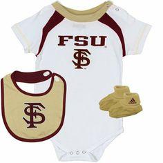adidas Florida State Seminoles (FSU) Infant Creeper, Bib & Booties Set - White/Garnet