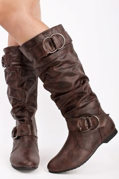 BROWN LEATHER SLOUCHY SCRUNCHED DOUBLE RING BUCKLE KNEE HIGH BOTOS,Women Boots On Sale-Sexy Boots,Womens Sexy Boots,Flat Boots,Heel Boots,Th...