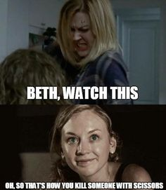 That was an epic kill for Jesse! But I did think of Beth when she went for the scissors.... RIP Beth Greene