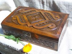 Jewelry box Ring box Wooden box Carved wood box by HappyFlying, $40.00 -- good gift idea ;)
