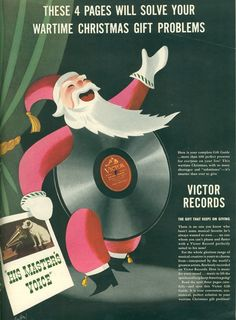 1942 RCA Christmas ad from Life Magazine  This fits right in with my love of old vinyl Christmas records.