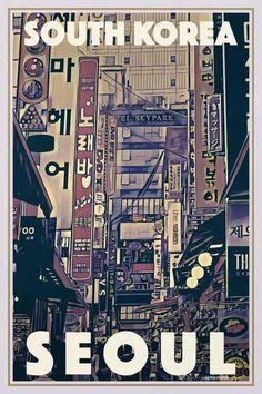 Poster Seoul Vintage titled Busy Seoul - Retro Poster South Korea