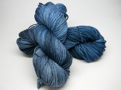 Midnight - Salsa Monkey worsted weight kettle dyed 100% Merino navy blue tonal by DyeMonkeyYarns on Etsy