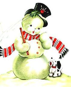 vintage Christmas adorable snowman and dog