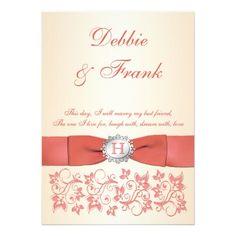 Monogram Coral Champagne Floral Wedding Invitation