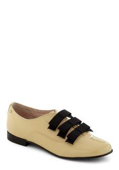 Lemon Chiffon My Way Flat by Bass - Flat, Leather, Tan, Black, Bows, Menswear Inspired, Luxe http://www.modcloth.com/shop/shoes-flats/lemon-chiffon-my-way-flat my daughter LOVES!! Cute teeny heart on side of heel so cute!!!