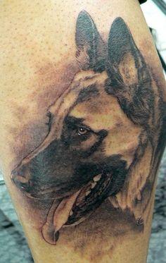 German Shepherd Dog Head Tattoo