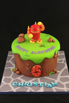 This amazing Skylanders birthday cake features Eruptor and is personalized with the birthday boys name and age. This party page also includes personalized invitations, officially licensed party supplies, favors and more. Skylanders Party, Fondant, Holiday Cakes, Occasion Cakes, Cakes For Boys, Cute Cakes, Party Cakes, Let Them Eat Cake, Cake Designs