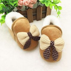 Newborn Infant Bebe Toddler Girls Warm  Bow Snow Shoes Baby Walker Crib Boots Baby Shoes