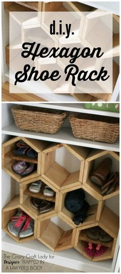 GENIUS!  Make a DIY shoe rack using an old bookshelf and making hexagon inserts to hold the shoes!  Full tutorial by The Crazy Craft Lady for Designer Trapped in a Lawyer's Body. #woodenshoerack