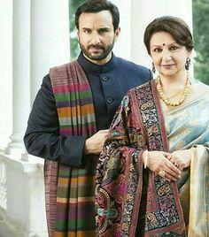 Saif Ali Khan with Mom Sharmila Tagore Indian Groom Wear, Indian Wear, Indian Dresses, Indian Outfits, Sharmila Tagore, Princes Dress, Royal Indian, Banarsi Saree, Wedding Dress Men