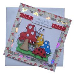 Handmade Toadstool & Ladybird Birthday Card £1.80