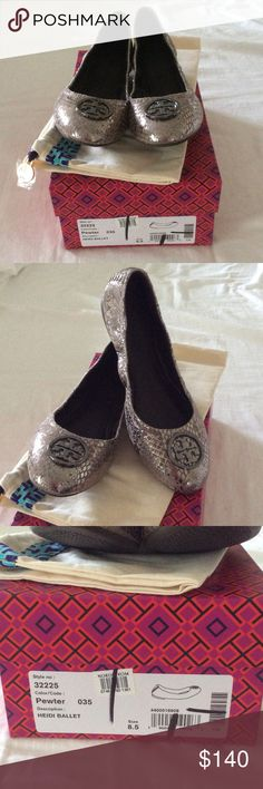 Tory Burch Heidi flats Adorable Tory flats! Worn once! These are 8.5 but will fit 8-8.5. I am closer to 9 and these were just slightly snug on my left foot. 😞 Truly cute shoes in perfect condition! Box and duster cloth. Tory Burch Shoes Flats & Loafers