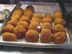 Papas Rellenas -Deep fried Cuban mashed potato balls with tasty ground beef in the center.  Portos Bakery - Burbank/Downy, CA