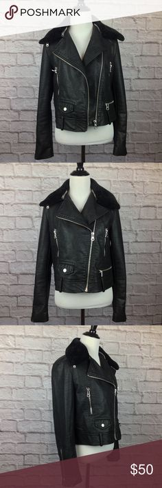 Zara Jacket Women Medium Black Faux Leather Moto Great Condition Zara Jacket Women Medium Black Faux Leather Moto Zip 3 Pocket  Removable Faux Fur Collar 3 Pocket Tag Reads Large But Fits More Medium 19 inch length  19.5 inch across bust Zara Jackets & Coats