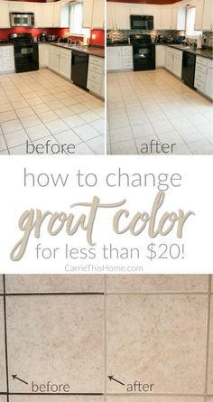Just look at the difference! The results were almost instantaneous and the best part is it cost LESS than $20! All it took was a little work & now we finally we had the grout color we wanted! How To Change Grout Color For Less Than $20 from CarrieThisHome Paint Colors For Home, House Colors, Floor Tile Grout, Mobile Home Decorating, Tile Projects, Grout Cleaner, For Less, Natural Cleaning Products, Cool Paintings