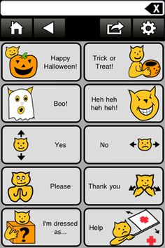 Today's AAC/Halloween/FREE app is an all in One app - This is a Halloween AAC App that is FREE. Looks like they built this app for October which happened to be AAC awareness month, Halloween and of course who doesn't like FREE app. This is a very simple and useful app that you can use on Halloween day.   Fat Cat Spooky Chat - Educational App