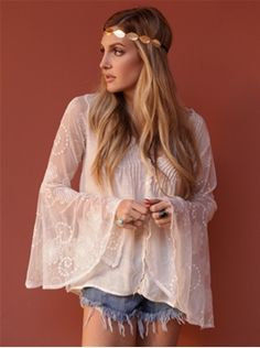 West Coast Wardrobe Full Moon Lace Top with Belle Sleeves in Creme