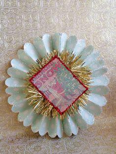Christmas Ornament Paper Rosette Decoration Vintage Artificial Snow Advertisement Vintage Tinsel Light Aqua & Cream Polka Dots 8 1/2 inches by laughterandlemondrop on Etsy