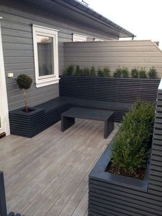 Nothing shows a modern lifestyle like this patio. It is a patio that is decorated with a modernized style. It is composed of a small coffee table, patio benches and a few box planters. Small Backyard Design, Backyard Garden Design, Small Backyard Landscaping, Small Patio, Backyard Ideas, Patio Ideas, Small Decks, Landscaping Ideas, Garden Ideas