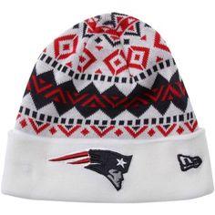 New Era New England Patriots Ivory Cuffed Knit Beanie - White/Navy Blue/Red