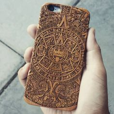 Laser Engraved Mayan Aztec Calendar on Genuine Wood phone Case for iPhone 5/S, 6/S and 6 plus IP-049