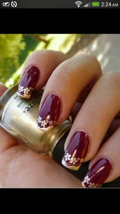 Purple and gold french nail art