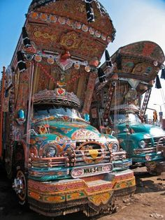 Traditional Pakistani trucks, directly after tests in Volvo's wind tunnels...