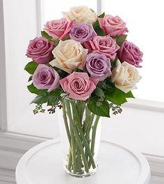 Long Stem Pastel Rose Bouquet