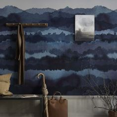 Midnatt blue is deep and dramatic in its dark tones, with a relaxing and dreamlike horizon. This is a wall mural that creates a canvas across several strips of wallpaper. Design: Karolina Kroon The wallpaper sample is an inspiration image. Dark Blue Wallpaper, Wallpaper Panels, Wallpaper Samples, Blue Wallpapers, Pattern Wallpaper, Sandberg Wallpaper, Modern Wallpaper, Wall Paint Patterns, Painting Patterns