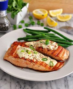 Grilled Salmon Fillets with Wasabi and Lemon Cream Sauce - and a list of 24 amazing date night at home recipes