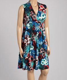 Look what I found on #zulily! Blue & Red Floral Surplice Dress - Plus #zulilyfinds