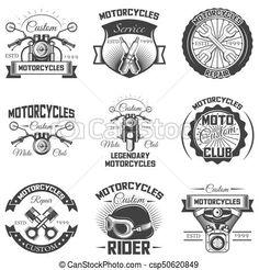 Vector set of vintage motorcycle s, emblems, badges, symbols, icons. Free Vector Art, Vector Graphics, Rider, Motorcycle Logo, Club, Custom Motorcycles, Typography Design, Symbols, Google
