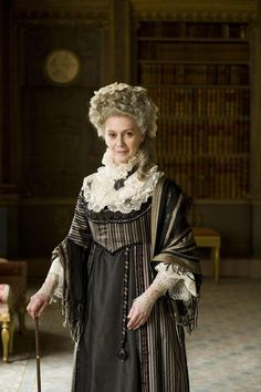 On the dignified Lady Ludlow from Cranford (2007). Costumes by Jenny Beavan.