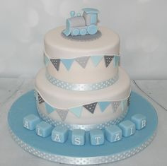 Blue/grey christening cake