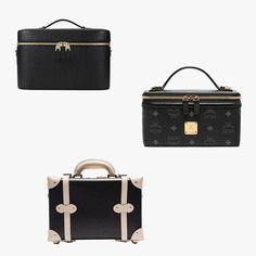 Smythson Panama calfskin leather vanity case, $1,695 saksfifthavenue.com; MCM Rockstar vanity case, $495 mcmworldwide.com; Steamline Luggage The Starlet Series leather vanity case, $395 theline.com