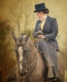 There's nothing like a well-mounted a model of elegance, style and decorum. I know my friend Anne can't stand side-saddle mounts, but oh they look so lovely. All The Pretty Horses, Beautiful Horses, Riding Habit, Side Saddle, Charro, Fox Hunting, Horse World, Equine Art, Horse Love