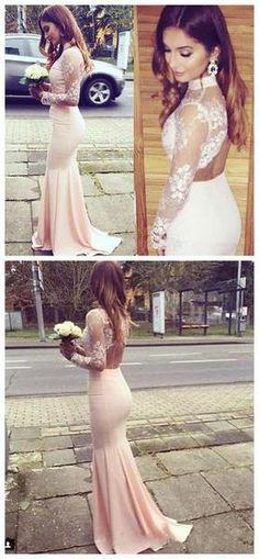 Modest Prom Dress,High Neck Lace Pink Prom Dress,Long Prom Dresses Open Back evening dress