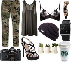 """Camouflaged"" by nicoledrake on Polyvore"