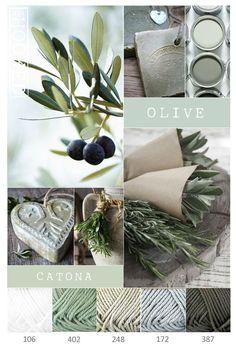 Olive green palette in Scheepjes Catona Yarn Color Combinations, Colour Schemes, Color Trends, Pantone, Couleur Chartreuse, Green Colors, Colours, Design Industrial, Colour Pallette