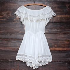 gauzy off the shoulder crochet lace boho romper in white