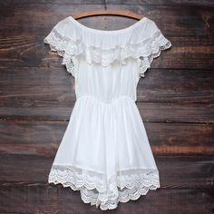 gauzy off the shoulder crochet lace boho romper in white