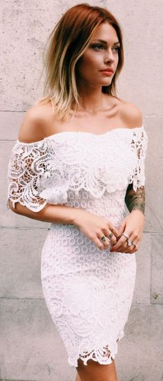 White Floral Irregular Boat Neck Lace Mini Dress
